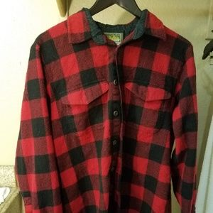 Other - EDDIE BAUER men's 100% wool flannel shirt LARGE re